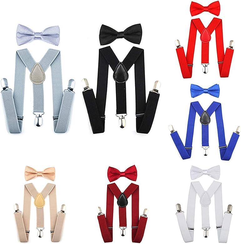 Sceneruo Tirantes ajustables elásticos para niños con corbata de ...