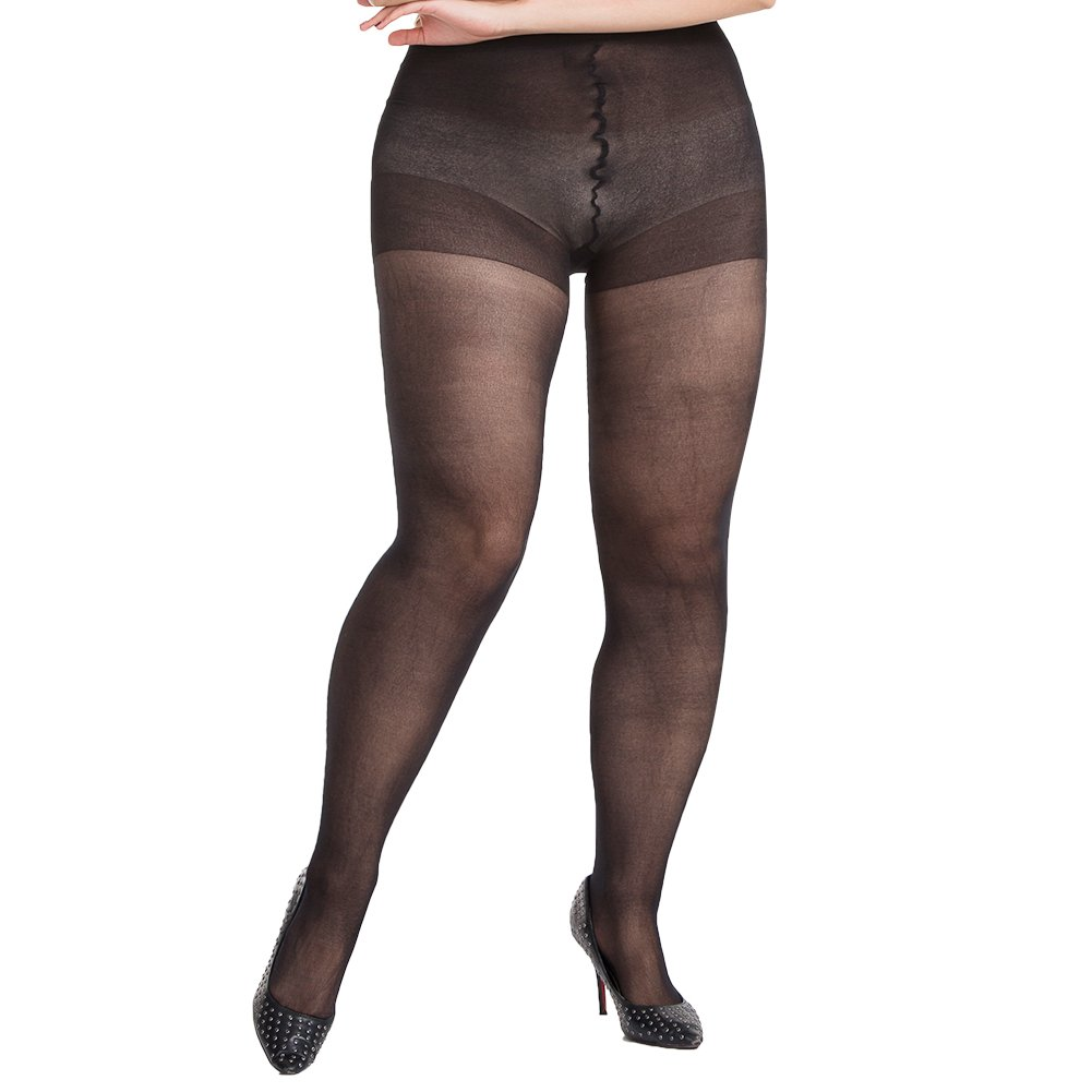 MANZI Women's 4 Pairs Footed Plus Size Pantyhose Control Top Sheer Tights 20 Denier