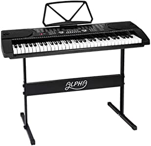 ALPHA 61 Keys Electronic Piano Keyboard Portable Digital Keyboard with Audio Input, Microphone Input, Headphont Output, 255 Tones Rhythms LED Electric Holder Music Stand Adaptor Power