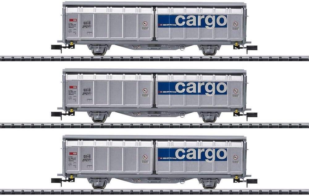 Minitrix 15282 3er-Set Schiebewandwagen der Set of 3 Sliding Wall trolleys of The SBB Cargo