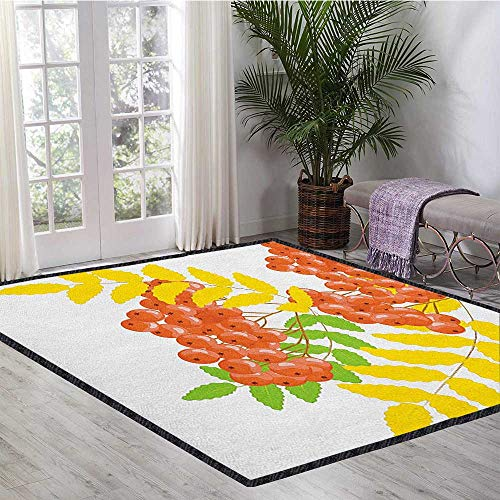 - Rowan Printed Carpet,Fresh and Dried Leafage and Juicy Rowan Fruits Ashberries Rural Nature Theme Chic Geometric Design Coral Yellow Green 55