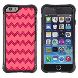 WAWU Funda Carcasa Bumper con Absorci??e Impactos y Anti-Ara??s Espalda Slim Rugged Armor -- Abstract Pink Lines Pattern zig zag -- Apple Iphone 6