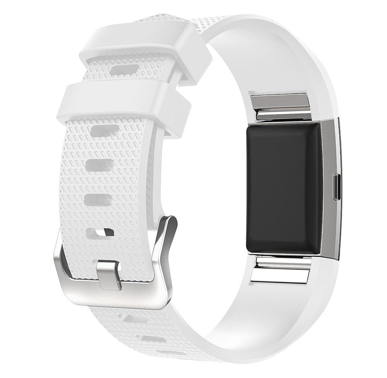 rukiwa新しいファッションスポーツシリコンブレスレットストラップバンドfor Fitbit Charge 2ホワイト  B01LXLPKX8