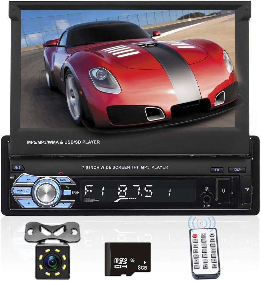 Radio de coche - Podofo 1 DIN Car Stereo GPS Navigation Receptor de medios digitales, Bluetooth Car Audio Player 7 pulgadas HD Pantalla táctil Video Player FM AUX USB SD cámara de marcha atrás