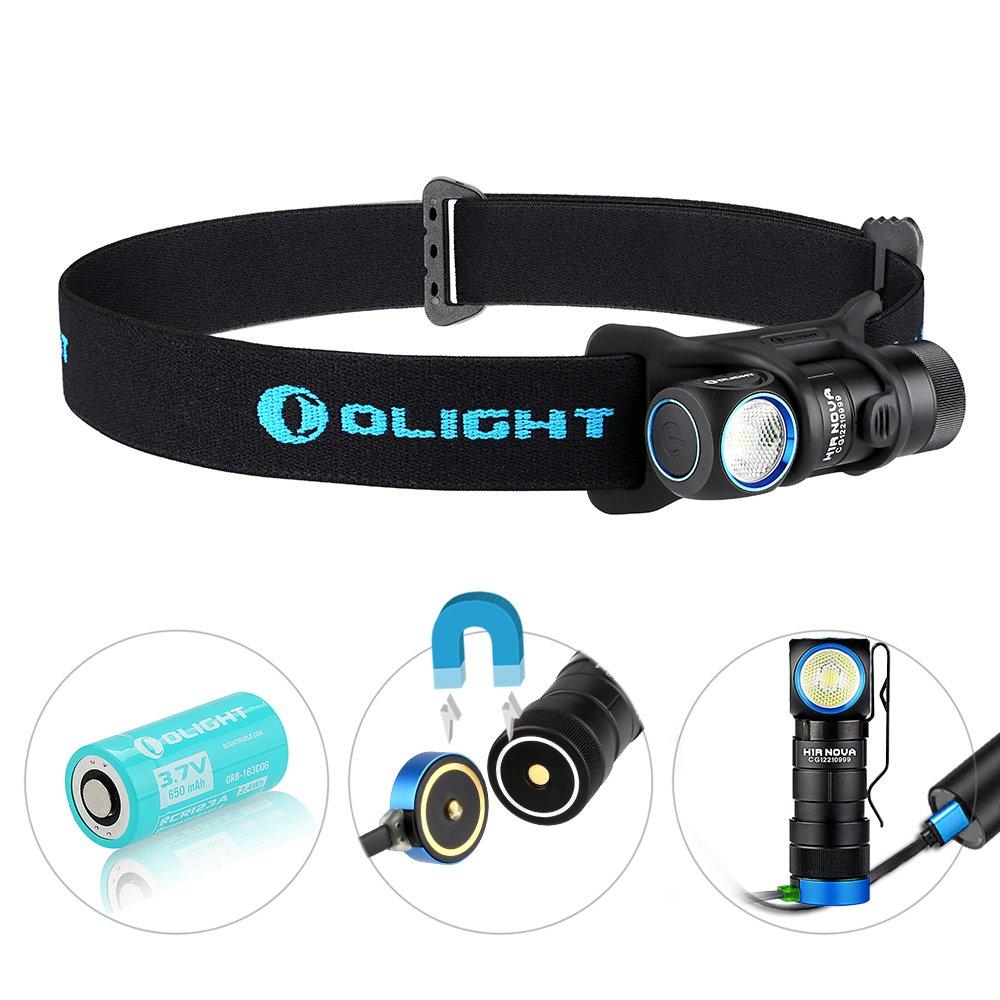 Olight® H1R Nova aufladbar LED Taschenlampe Stirnlampe Kopflampe mit CREE XM-L2 CW LED - inkl. 1 x 3.7V 650mAh RCR123A 16340 Akku,kaltweiß