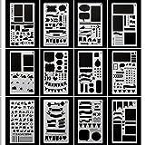 Huhuhero Bullet Journaling Stencils Plates - Drawing Templates Ruler Set to Decorate Journal, Calendar, Planner, Leuchtturm & A5 Notebooks - Best Work with Fine Line Pens-12pcs