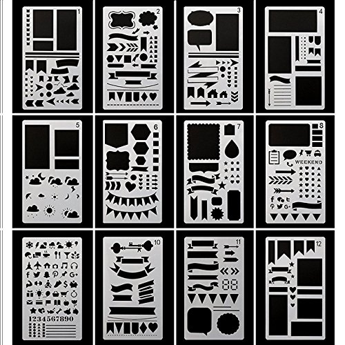 Huhuhero Bullet Journaling Stencils Plates - Drawing Templates Ruler Set to Decorate Journal, Calendar, Planner, Leuchtturm & A5 Notebooks - Best Work with Fine Line Pens-12pcs