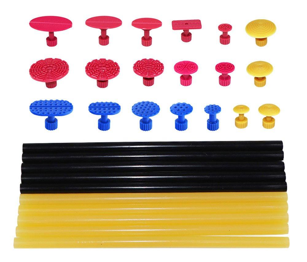 JMgist PDR Puller Tabs Dent Repair Tools Hot Melt Glue Sticks Set for Car Dent Paintless Removal Kit 29pcs