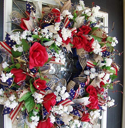 FAST SHIP! Americana Eye Candy! Rustic Farmhouse Style Navy Blue & Dark Red 4th of July, Memorial Day, Summer, Deco Mesh Floral Door Wreath, RWB Farm -