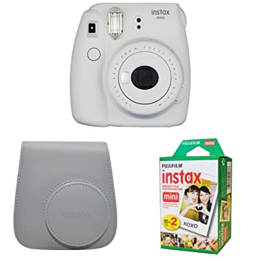 Fujifilm Instax Mini 9 Instant Camera with Instax Groovy Camera Case (Smokey White) & Instax Mini Instant Film Twin Pack