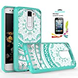 LG Phoenix 2/Escape 3/K8 Clear Case with HD Screen Protector,[Not Fit K8V] AnoKe Scratch Resistant Colorful Totem Dream Catcher Flower Slim Fit Acrylic Cover TPU Bumper Hybrid For LG K8 - TM Mint