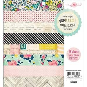 Crate Paper 683290 Paper Pad, Flea Market, 6-Inch x 6-Inch, 36-Pack