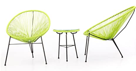 Kardiel 3 Piece Outdoor Acapulco Chairs U0026 Table, Lime Green