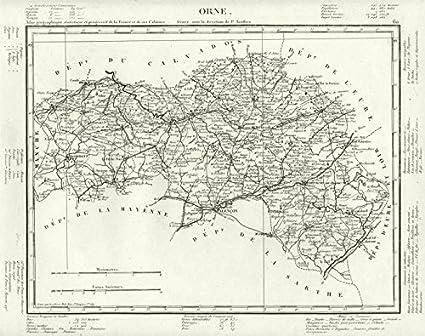 Tardieu Old Antiguo Mapa Vintage – 1830 – Juego de funda