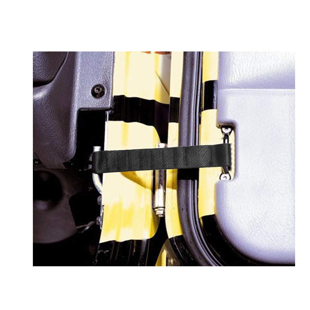 2PCS-Black Early Bus Withstand 1000lb Heavy Duty Strong Adjustable Door Limiting Check Strap Perfect for Jeep Wrangler Black Pack of 2