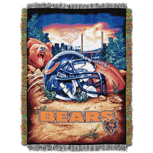 The Northwest Company Officially Licensed NFL Chicago Bears Home Field Advantage Woven Tapestry Throw Blanket, 48