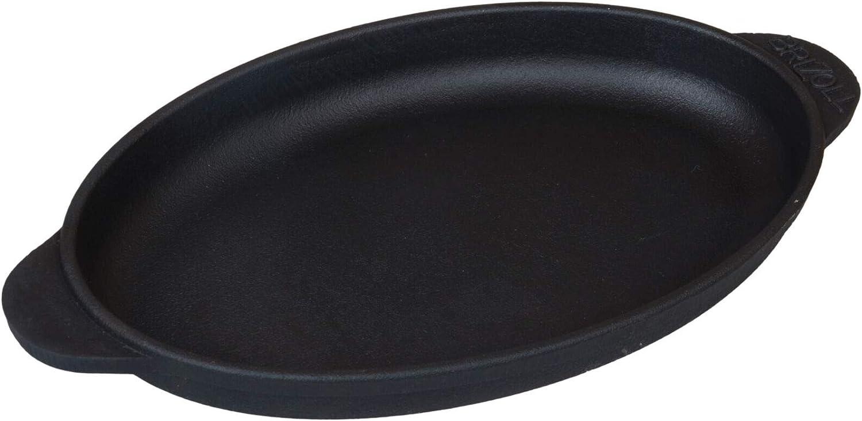 BRIZOLL Po/êle Ovale en Fonte 22 x 14 cm 22x14 mit Brett Noir