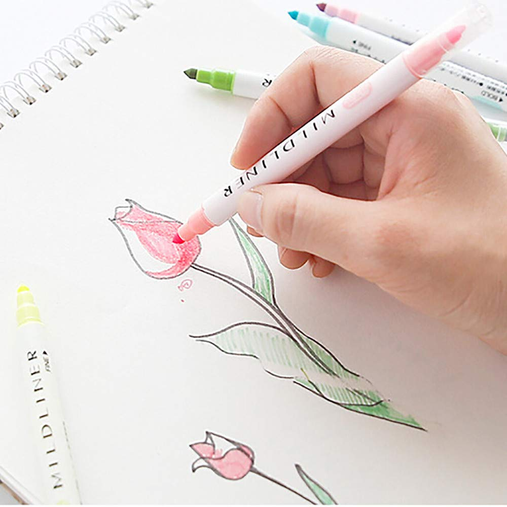 Highlighter Pens Double-Headed Multifunctional Pen 12 Colors Included Round and Oblique Head Marker Pens Fine Brush Marker Pen Graphic Drawing (Multicolor) by Ounice (Image #3)