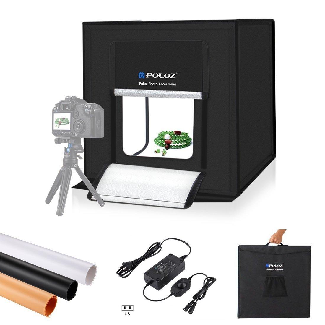 Mini Photo Studio Box, PULUZ 20cm Portable Photography Shooting Light Tent Kit, White Folding Lighting Softbox with 20 LED Lights + 6 Backdrops for Product Display PU5021