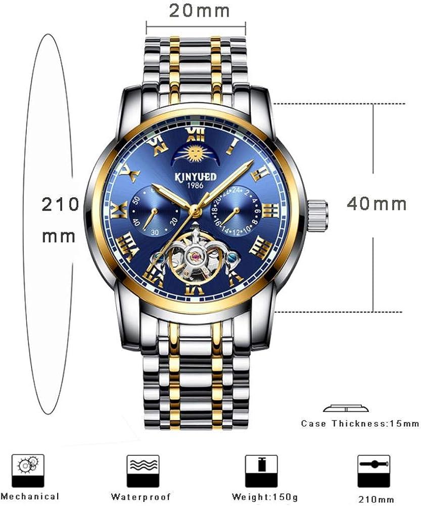 TXGIRWAO Calendario automatico Orologi da polso Uomo Moon Phase Tourbillon Luminoso Orologio meccanico Cronografo Orologio in acciaio inossidabile Blue Gold