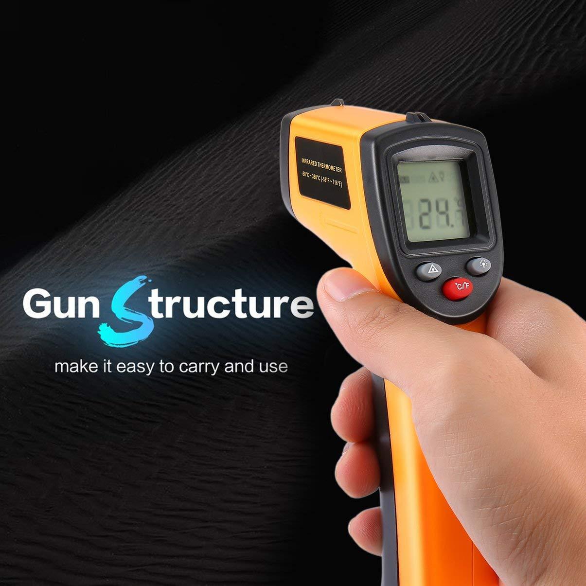 jaune Thermom/ètre infrarouge LCD LCD sans contact pistolet IR point thermique temp/érature dimagerie infrarouge m/ètre de poche pyrom/ètre