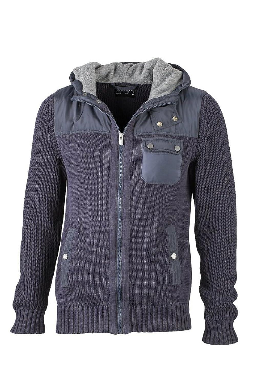 JAMES & NICHOLSON Hooded jacket in coarse knitting
