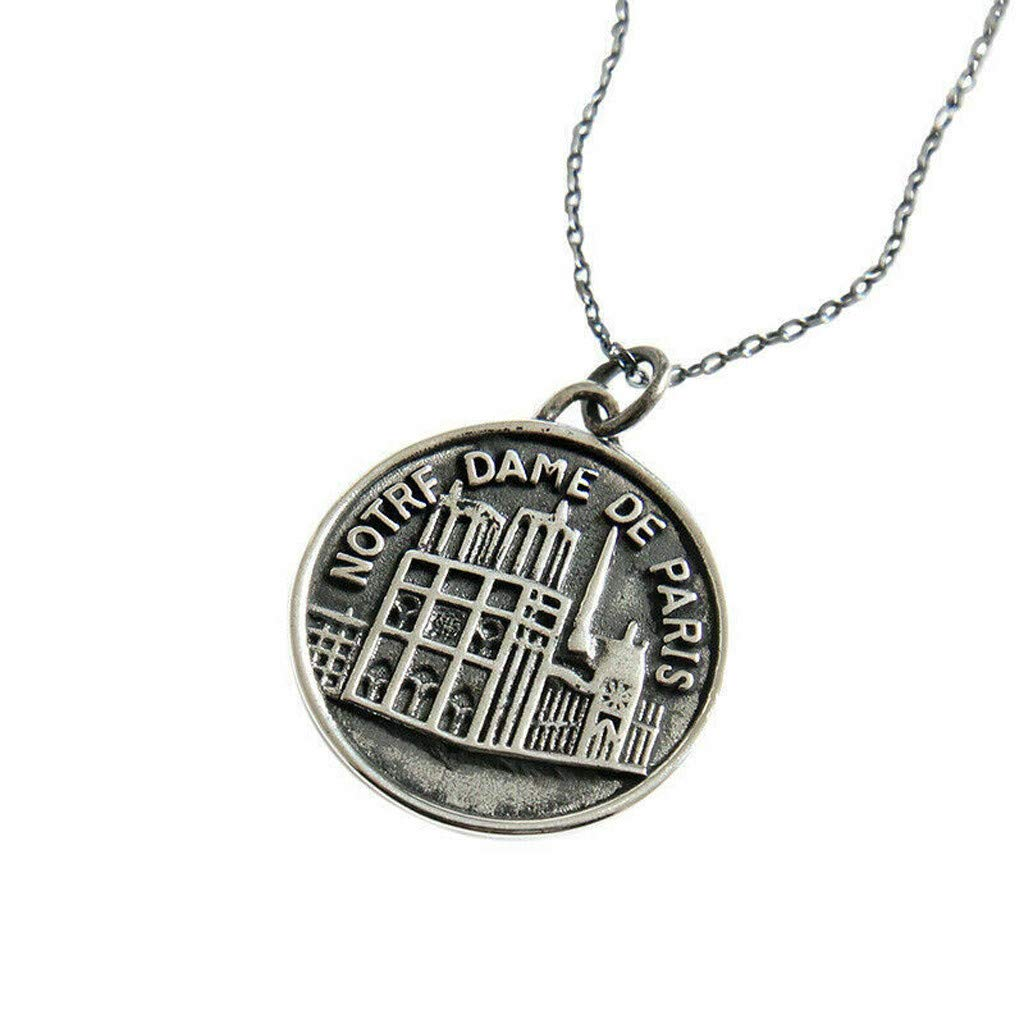Hongxin s925 Retro Notre Dame de Paris Sterling Silver Coin Pendant Necklace Chain