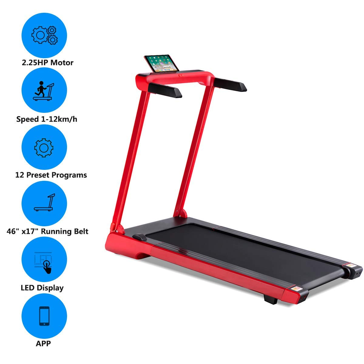 Goplus 2.25 HP Folding Treadmill Electric Cardio Fitness Jogging Running Machine Portable Motorized Power Slim Treadmill with Sports App and LED Display (Red) by Goplus (Image #4)