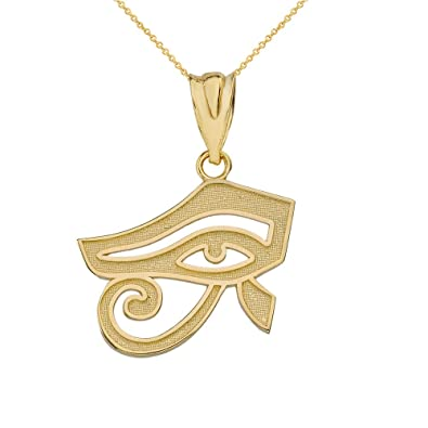 Amazon.com  14k Yellow Gold Egyptian Eye of Horus Pendant Necklace ... e31b77d6d7da