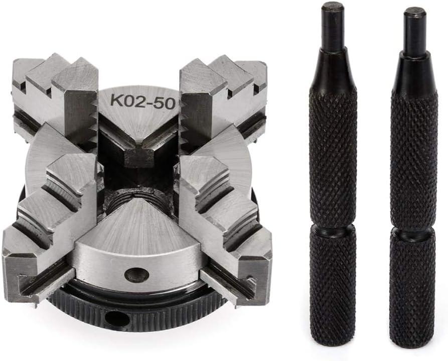 MEIZXIU 1pc Self-Centering 4 Jaw MiniLathe Chuck K02-50 M14 Thread Mount Chucks 50x45mm with 2pcs Lock Rods