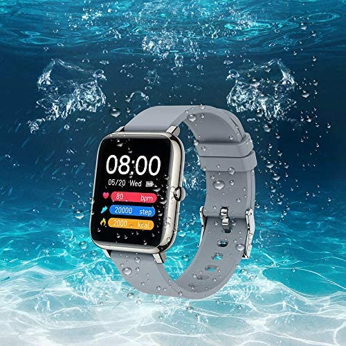 """Mugo Smart Watch, Fitness Tracker and Heart Rate Monitor, Smartwatch for Men Women 1.4"""" TFT LCD Screen with Sleep Monitor and Custom Dial, IP67 Waterproof Pedometer, Fitness Watch for iOS and Android"""
