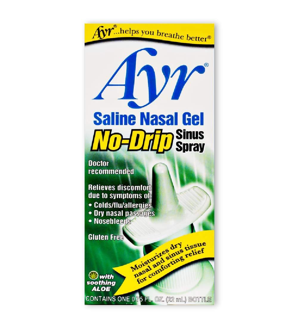 Ayr Saline Nasal Gel No-drip Sinus Spray With Soothing Aloe Vera, 0.75 Ounce Spray Bottle