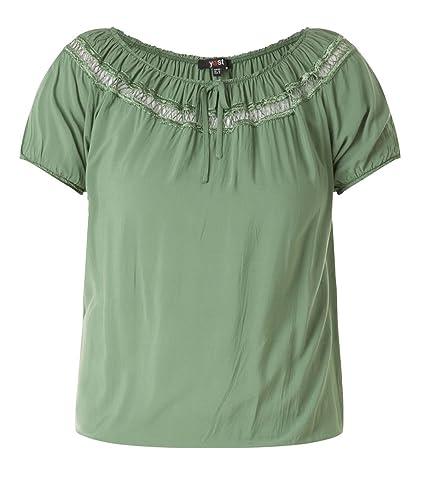 x-two Langarm Chiffon Shirt Twinset in Oliv-Grün Glitzer Übergrößen große Größen