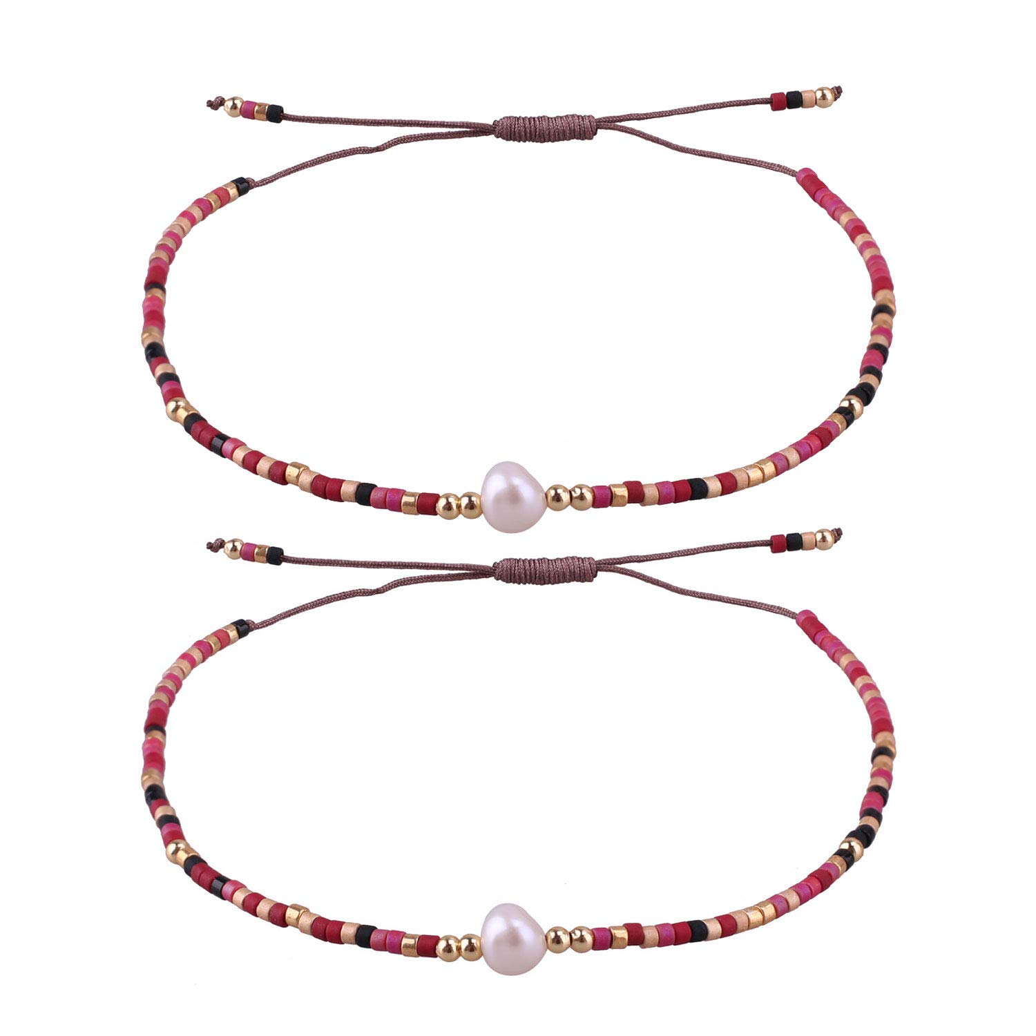 92b5ac2b17 KELITCH 2 Pcs Friendship Bracelets New Seed Beaded Woven Lovers Bracelets  Handmade Strand Bangles Gifts (Color 01C)