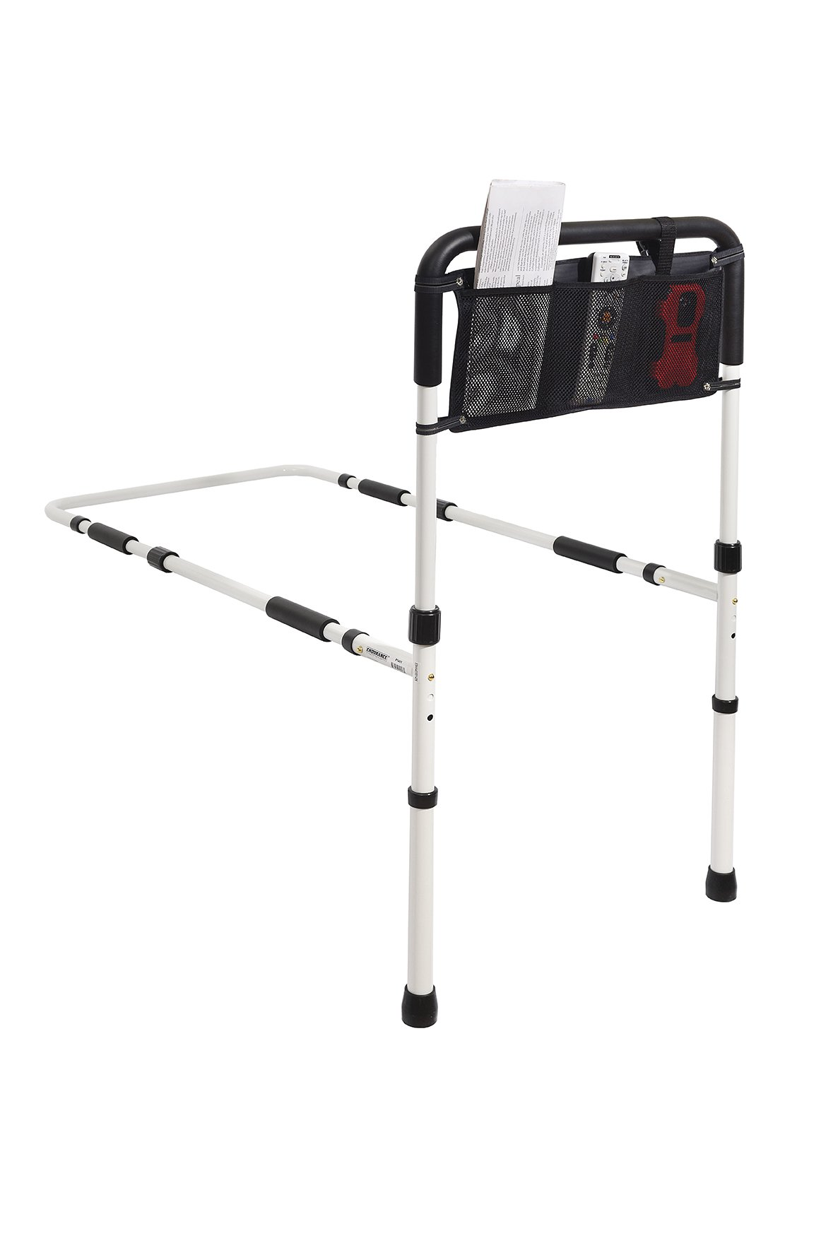 Essential Medical Supply Height Adjustable Hand Bed Rail with Floor Support and Three Pocket Pouch