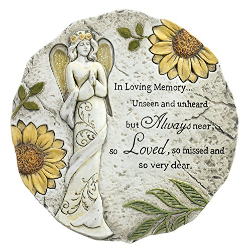 In Loving Memory Always Loved Floral Angel 11 x 11 Inch Resin Bereavement Garden Stepping Stone Resin Memory