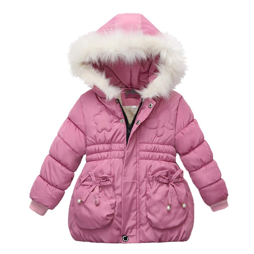 Toddler Baby Girls Winter Thick Warm Zipper Hooded Cotton Down Coat Thick Jacket Outwear (Recommended Age:2-3 Years, Pink) by sweetnice baby clothing