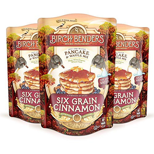 Six Grain Cinnamon Pancake and Waffle Mix by Birch Benders, Made with Organic Ingredients, Whole Grain, Non-GMO, 48 Ounce (16oz 3-pack)