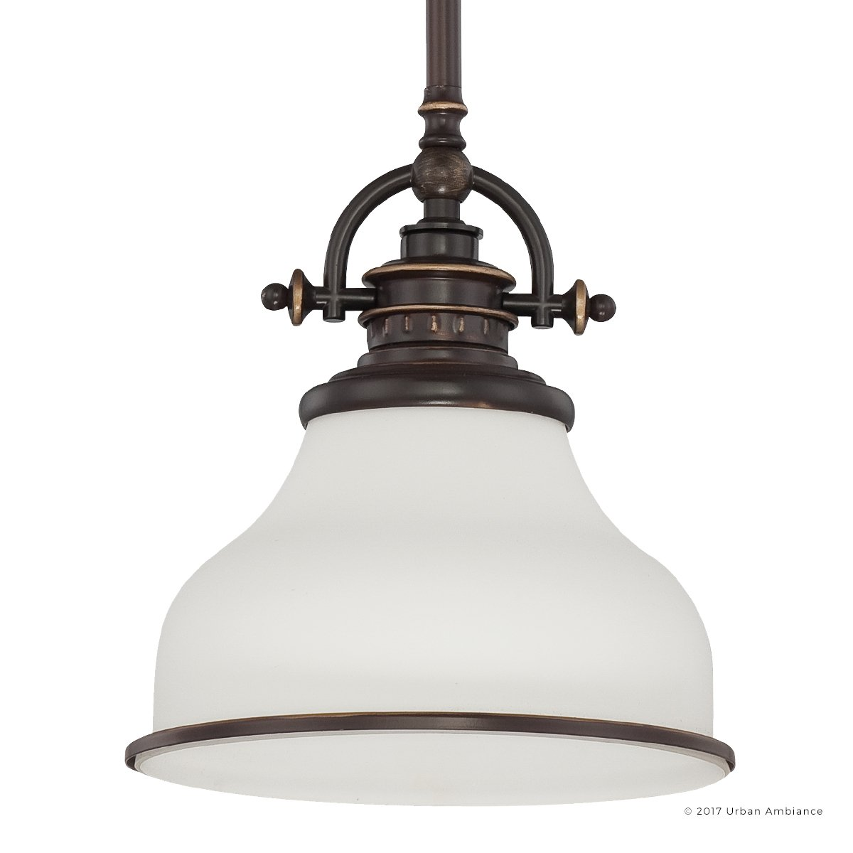 Luxury Industrial Pendant Light, Small Size: 9.5''H x 8''W, with Americana Style Elements, Nostalgic Design, Oil Rubbed Parisian Bronze Finish and Opal Etched Glass, UQL2338 by Urban Ambiance by Urban Ambiance (Image #1)