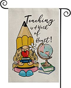 AVOIN colorlife First Day of School Saying Garden Flag Double Sided A Work Of Heart, Gnome Globe Apple Mini Flag, Back to School Teacher Appreciation Yard Outdoor Decoration 12.5 x 18 Inch