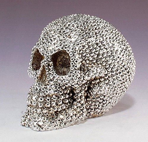 (Silver Bead Gemstone Looking Treasure Pirate Skull Figurine Sculpture Halloween)