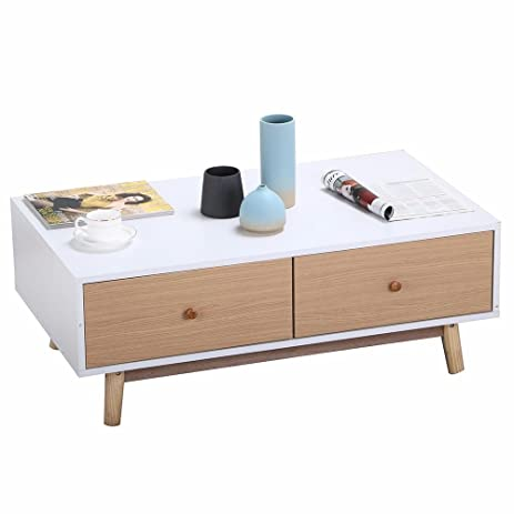 Yaheetech Modern 2 White Drawers Table Solid Wood Legs Center Tables Living  Room Furniture Part 78