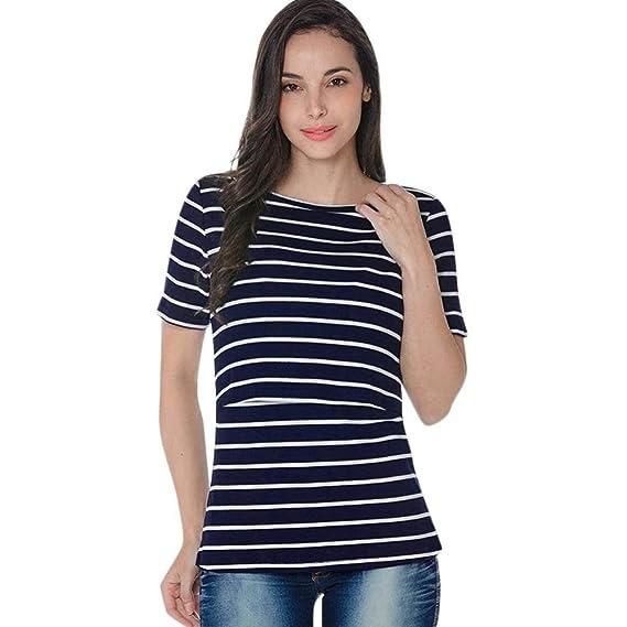 Gusspower Raya Blusas para Mujeres Embarazadas, Premama Camisa de Manga Corta para Mujer Casual Camiseta