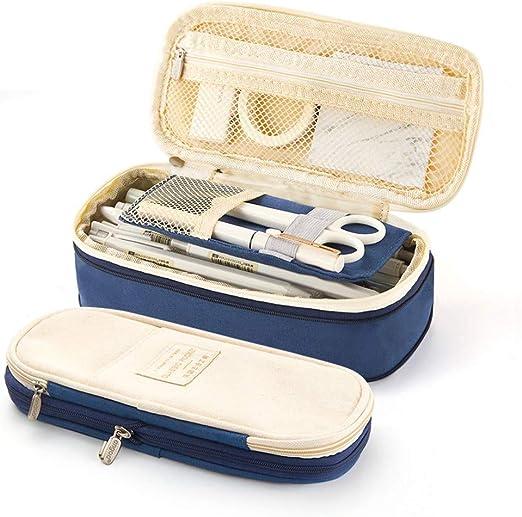 Estuche de lápices de gran capacidad Bolígrafo de lona plegable Estuche de bolsa de cosméticos Organizador de caja para arte escolar de oficina (Azul Marino): Amazon.es: Hogar
