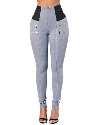 b1737cae38a28 StyleDome Femme Pantalon Slim Taille Haute Mince Jambière Legging Pants  Pencil Stretch Gris EU 36