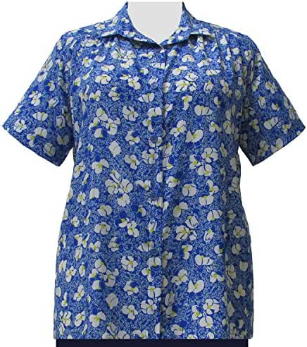 A Personal Touch Women's Plus Size Blue & White Floral Blouse with Shirring