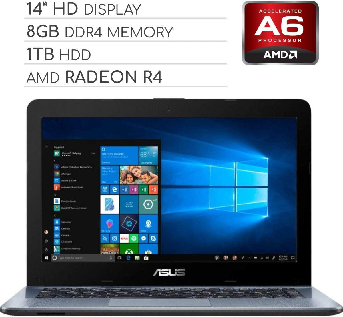 ASUS Vivobook 2019 Premium 14 HD Non-Touch Laptop Notebook Computer, 2-Core AMD A6 2.6GHz, 8GB DDR4 RAM, 1TB HDD, No DVD, Wi-Fi|Bluetooth|Webcam|HDMI|VGA, Windows 10