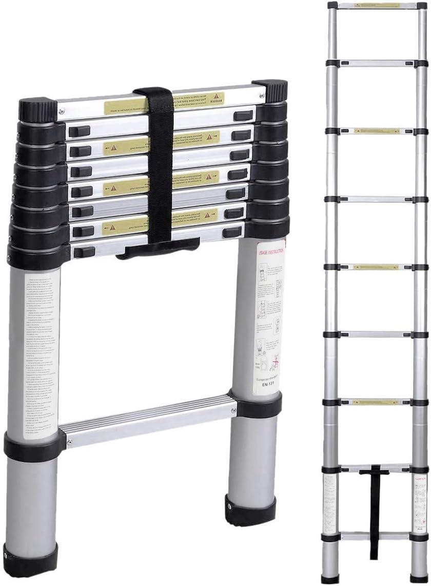 DlandHome 2,6M Escalera Telescópica de Aluminio EN 131, Escalera Extensible, Escalera Multipropósito Portátil, Capacidad de 150kg: Amazon.es: Bricolaje y herramientas
