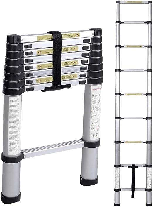 DlandHome 2,6M Escalera Telescópica de Aluminio EN 131, Escalera ...