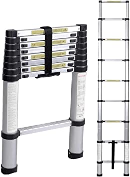 soges 2.6 M Escalera telescópica Aluminio Extensión telescópica Escalera tipo loft Escalera multiusos Portátil plegable KS-JF-001: Amazon.es: Bricolaje y herramientas